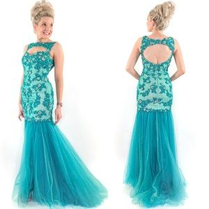 Teal Mermaid Prom Pageant Dress